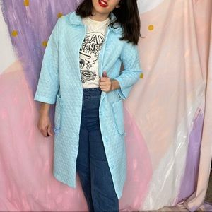 VINTAGE 1960s Pastel Blue Puffy Quilted Bed Jacket